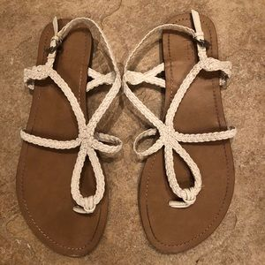 White leather braided Strappy Sandals
